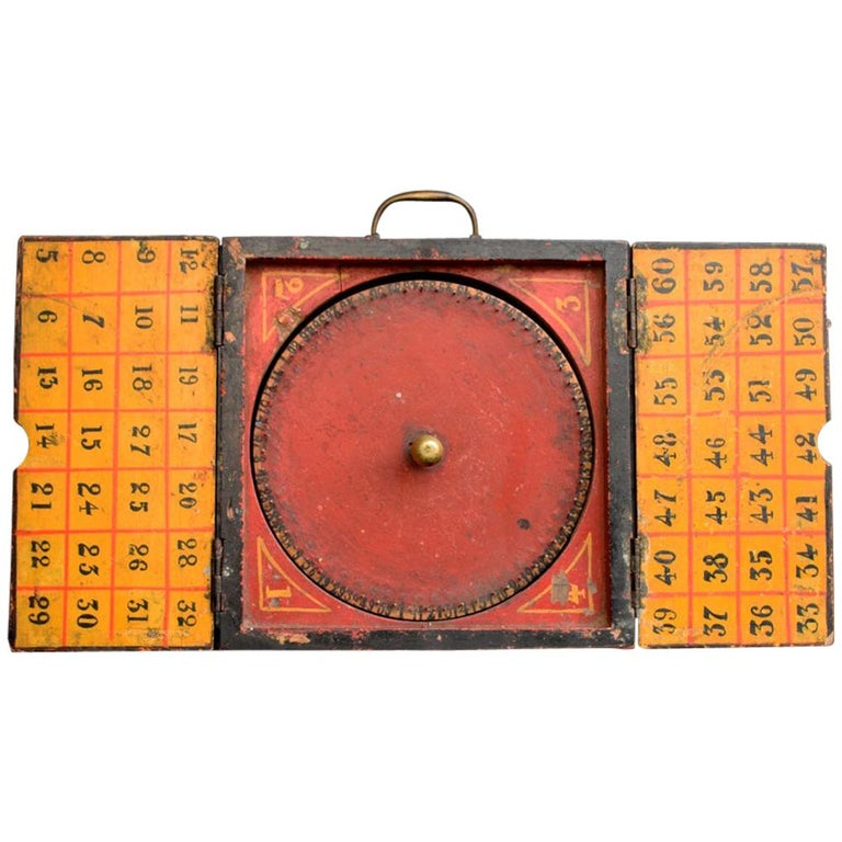 Rare Illegal Early 20th Century Folk Art English Gambling Roulette Bar Game