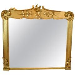 Rare Irish Antique Gilded Overmantle Mirror