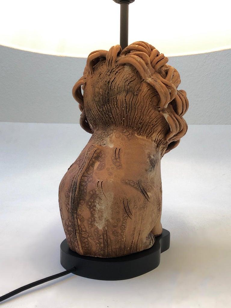 Rare Italian Ceramic Lion Table Lamp by Aldo Londi for Bitossi For Sale 3