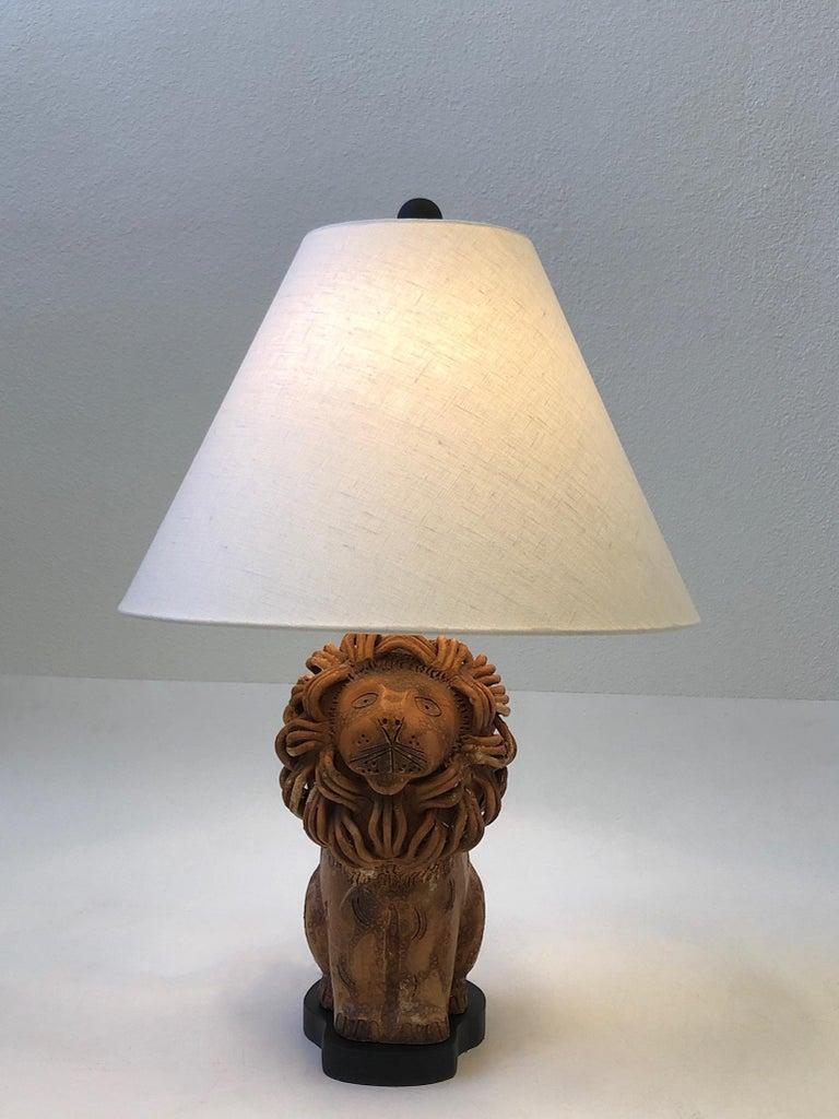 Mid-Century Modern Rare Italian Ceramic Lion Table Lamp by Aldo Londi for Bitossi For Sale
