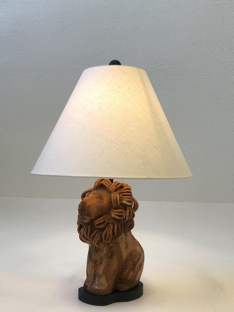 Glazed Rare Italian Ceramic Lion Table Lamp by Aldo Londi for Bitossi For Sale