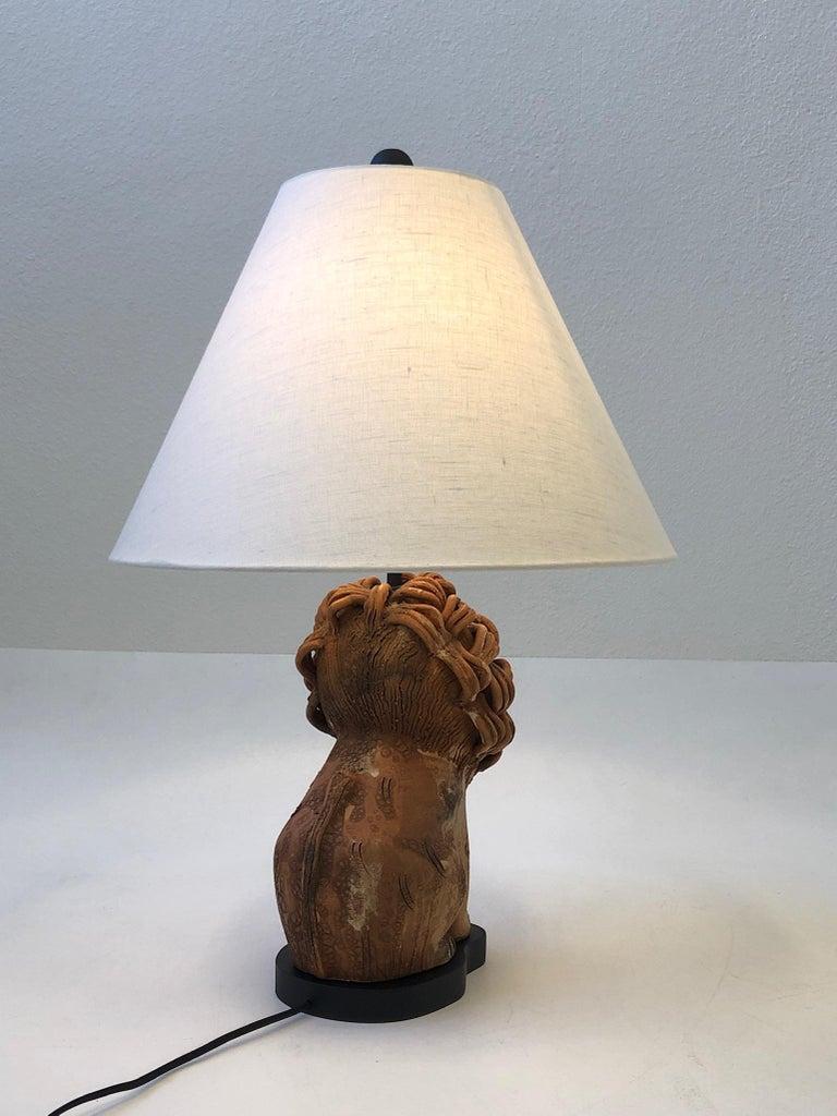 Late 20th Century Rare Italian Ceramic Lion Table Lamp by Aldo Londi for Bitossi For Sale