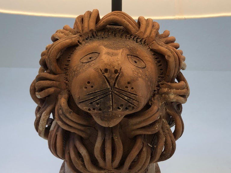Brass Rare Italian Ceramic Lion Table Lamp by Aldo Londi for Bitossi For Sale