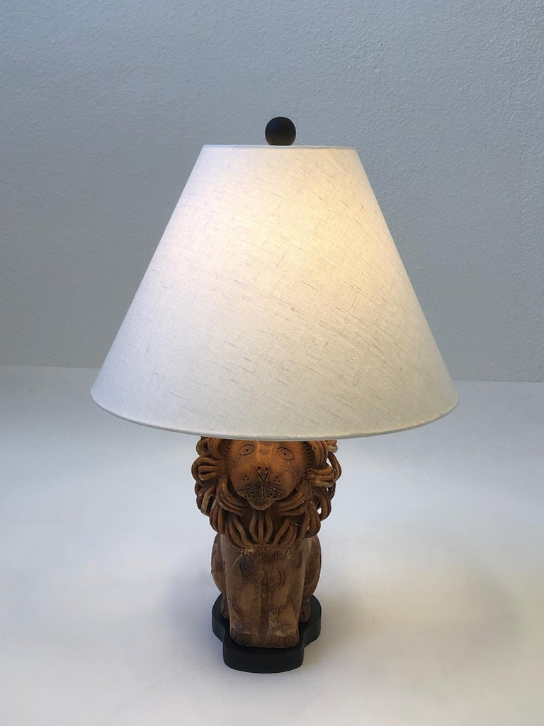 Rare Italian Ceramic Lion Table Lamp by Aldo Londi for Bitossi For Sale 2