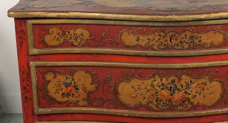 Rare Italian Sicilian Red Scarlet and Polychromed Rococo Style Commode In Good Condition For Sale In Sheffield, MA
