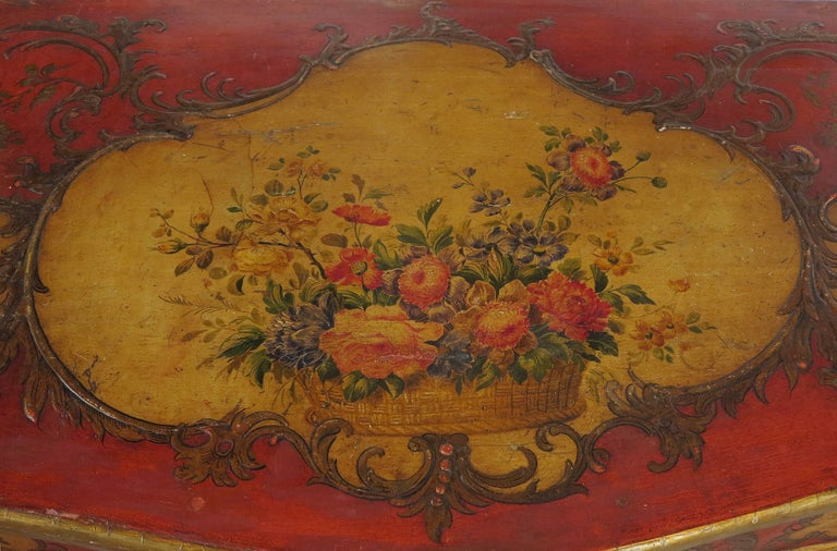 19th Century Rare Italian Sicilian Red Scarlet and Polychromed Rococo Style Commode For Sale