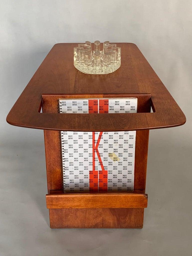 Walnut Rare Jens Risom Magazine Table For Sale
