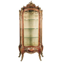 Rare Louis XV Style Tulipwood Bome Vitrine by Maison Krieger, French, circa 1880
