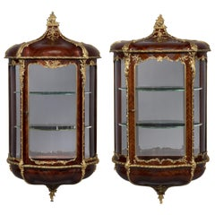 Rare Matched Pair of Louis XVI Style Wall Vitrines by Zwiener, circa 1890