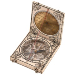 Rare Mid-17th Century French Dieppe Magnetic Azimuth Dial