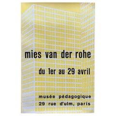 Rare Mies van der Rohe Exibition Poster Paris, 1950s