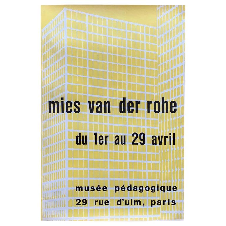 Rare Mies van der Rohe Exibition Poster Paris, 1950s For Sale