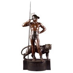 A Rare Monumental Bronze Statue of a Roman Soldier next to a Big Panter