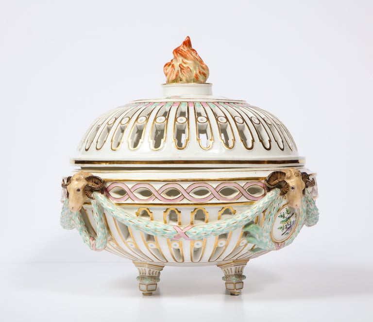 Gilt Rare Neoclassical Meissen Porcelain Reticulated Centerpiece with Rams Heads For Sale