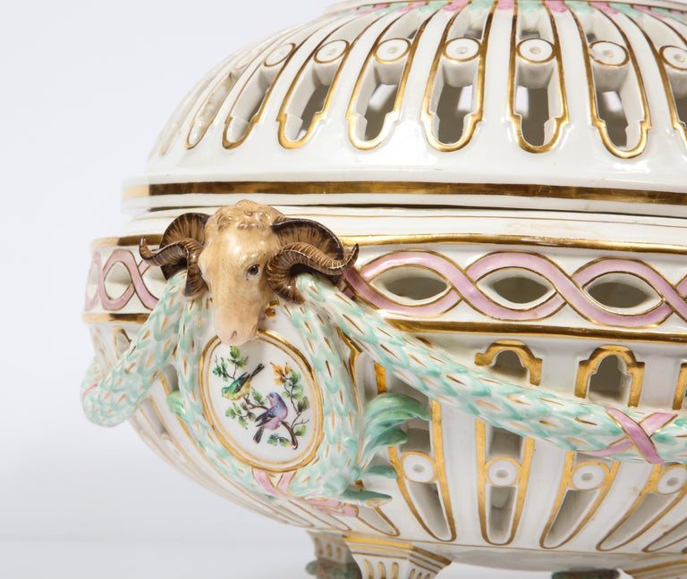 Rare Neoclassical Meissen Porcelain Reticulated Centerpiece with Rams Heads For Sale 3