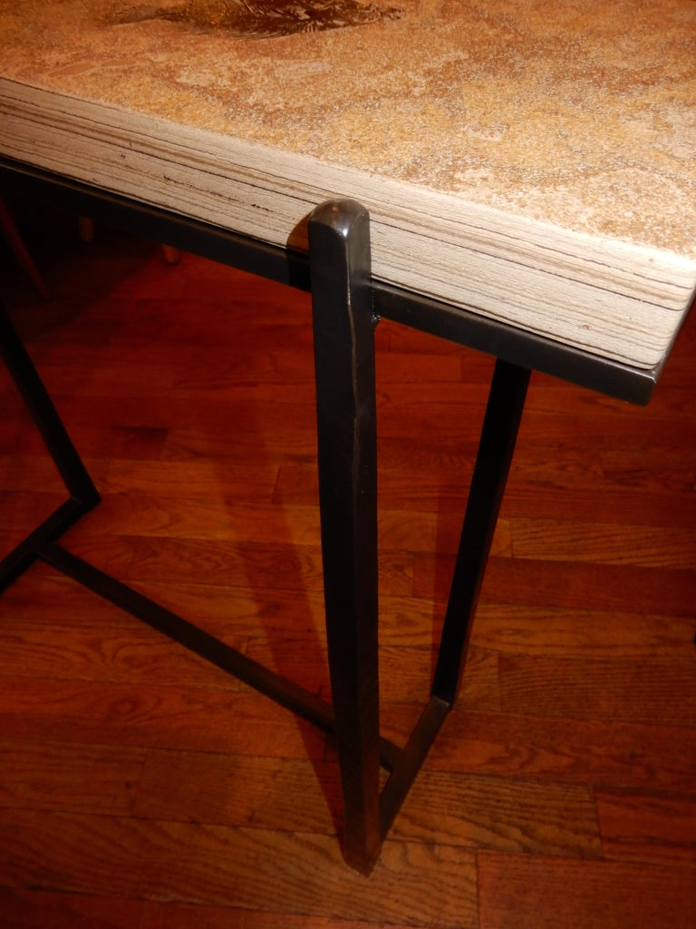 American Rare One of a Kind Ancient Fossils Console Table For Sale