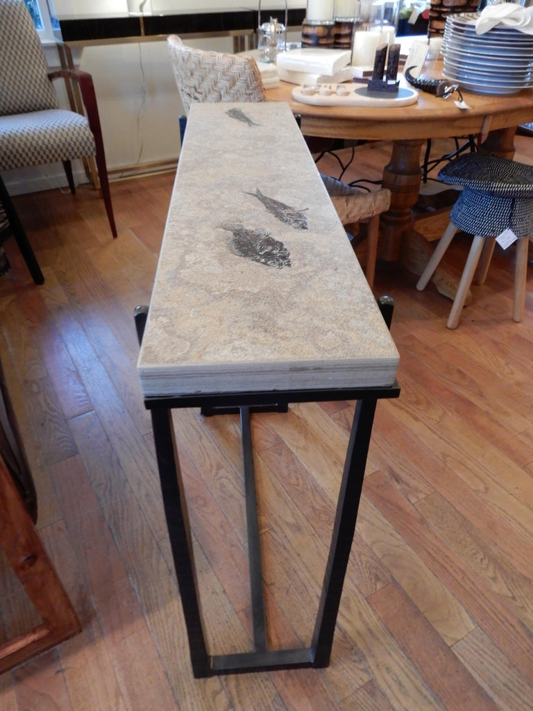 Contemporary Rare One of a Kind Ancient Fossils Console Table For Sale