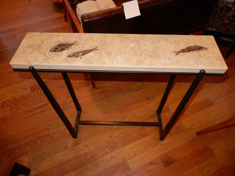 Stone Rare One of a Kind Ancient Fossils Console Table For Sale