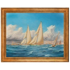 Rare Painting of 1930 America's Cup Racing off Newport, Signed 'Harold Wylli