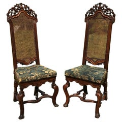 Rare Pair of 17th Century English Walnut Chairs
