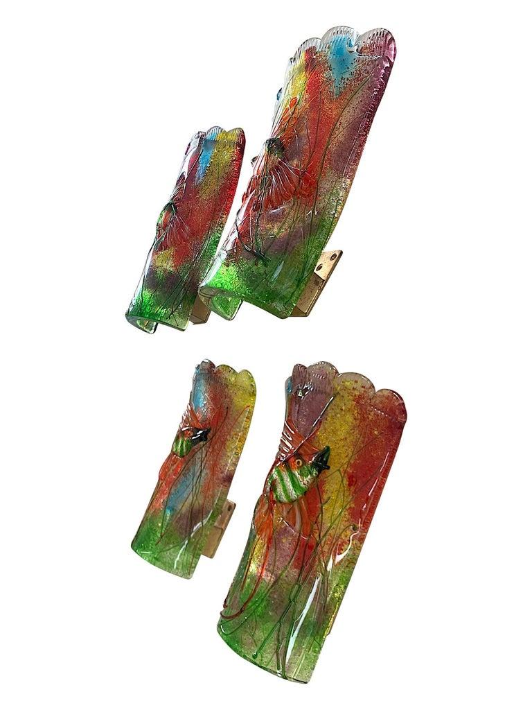 Rare Pair of 1950s Murano Glass Aquarium Fish Wall Sconces by Alfredo Barbini For Sale 4