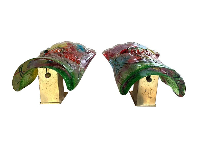 Rare Pair of 1950s Murano Glass Aquarium Fish Wall Sconces by Alfredo Barbini For Sale 4