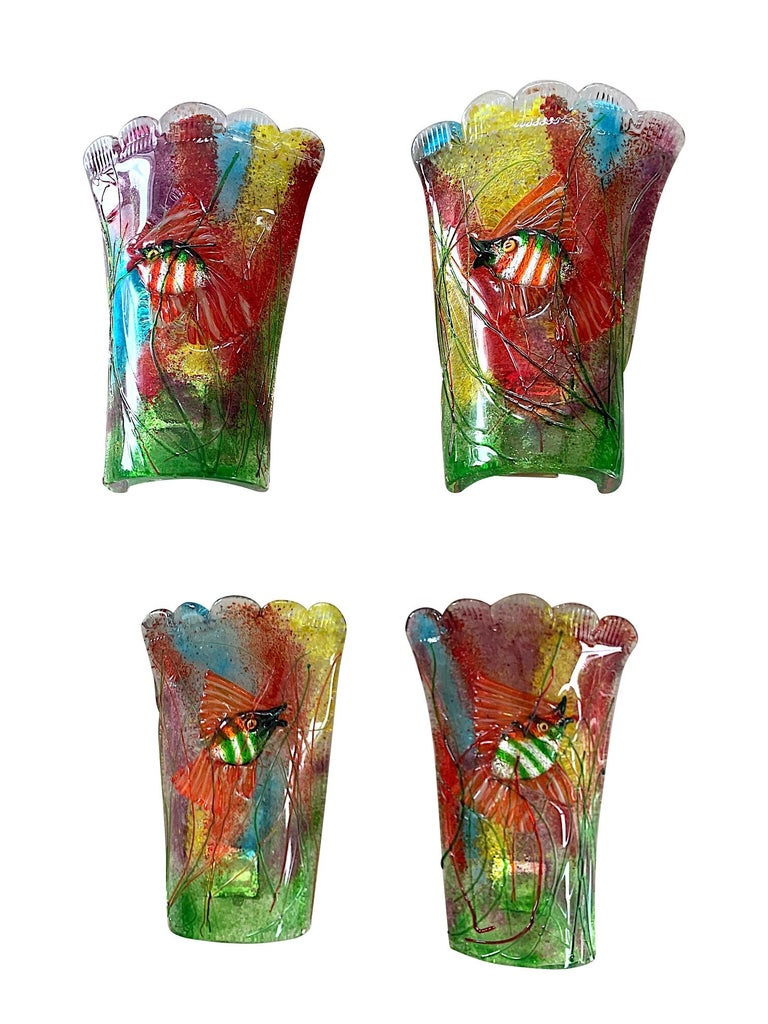 Rare Pair of 1950s Murano Glass Aquarium Fish Wall Sconces by Alfredo Barbini For Sale 7