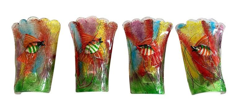 Rare Pair of 1950s Murano Glass Aquarium Fish Wall Sconces by Alfredo Barbini For Sale 7
