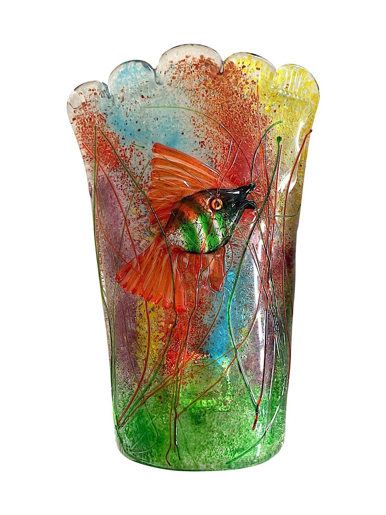 Mid-Century Modern Rare Pair of 1950s Murano Glass Aquarium Fish Wall Sconces by Alfredo Barbini For Sale