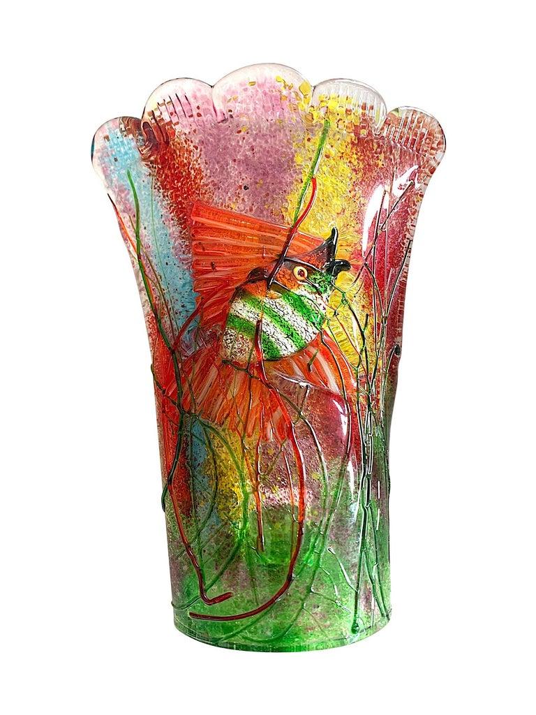Italian Rare Pair of 1950s Murano Glass Aquarium Fish Wall Sconces by Alfredo Barbini For Sale