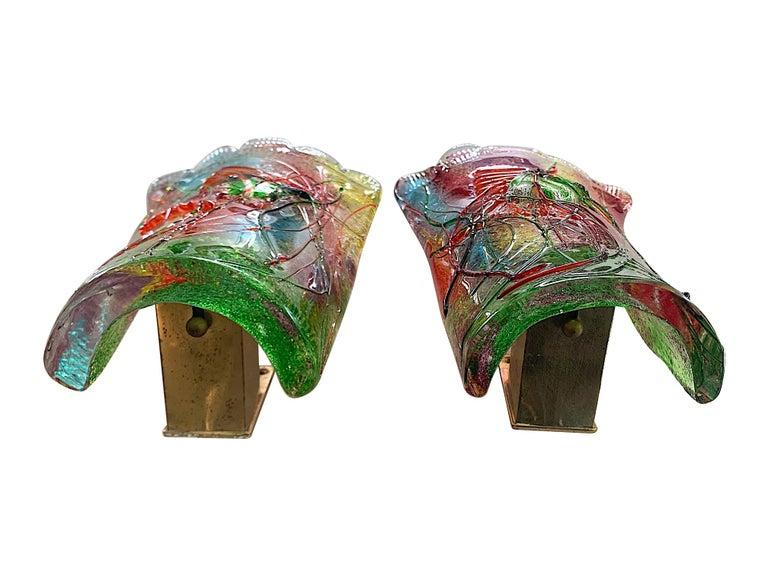 Mid-20th Century Rare Pair of 1950s Murano Glass Aquarium Fish Wall Sconces by Alfredo Barbini For Sale