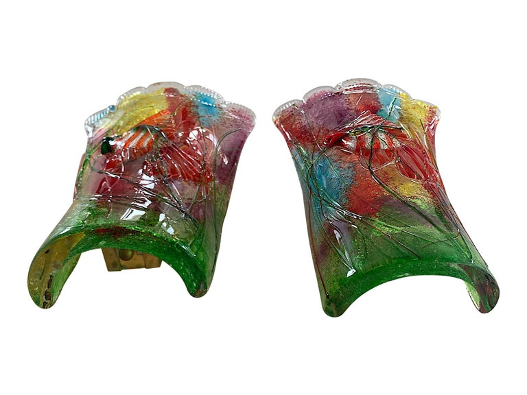 Mid-20th Century Rare Pair of 1950s Murano Glass Aquarium Fish Wall Sconces by Alfredo Barbini For Sale