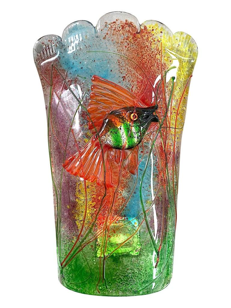 Rare Pair of 1950s Murano Glass Aquarium Fish Wall Sconces by Alfredo Barbini For Sale 1