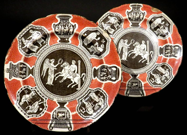 George III Rare Pair of 19th Century Herculaneum Pottery Plates, Liverpool, circa 1805 For Sale