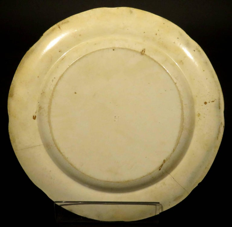 English Rare Pair of 19th Century Herculaneum Pottery Plates, Liverpool, circa 1805 For Sale