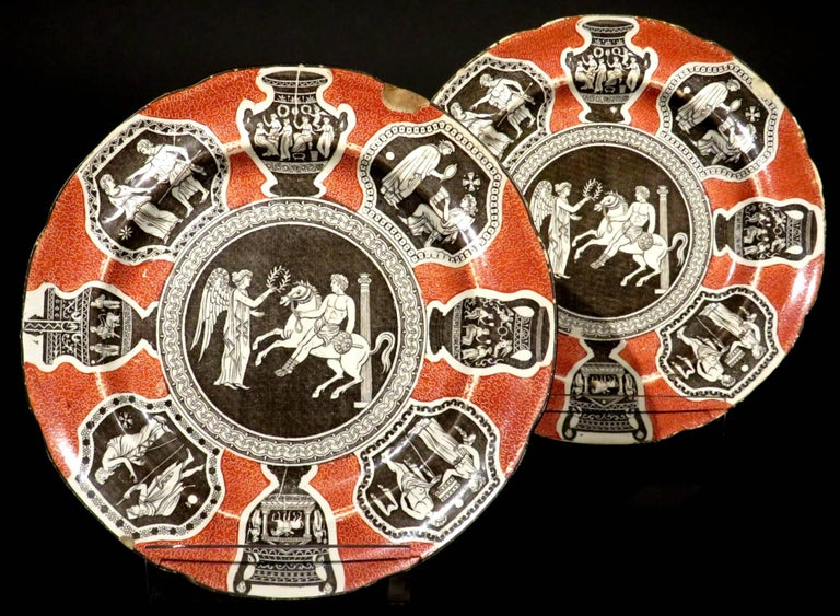 Rare Pair of 19th Century Herculaneum Pottery Plates, Liverpool, circa 1805 In Fair Condition For Sale In Ottawa, Ontario