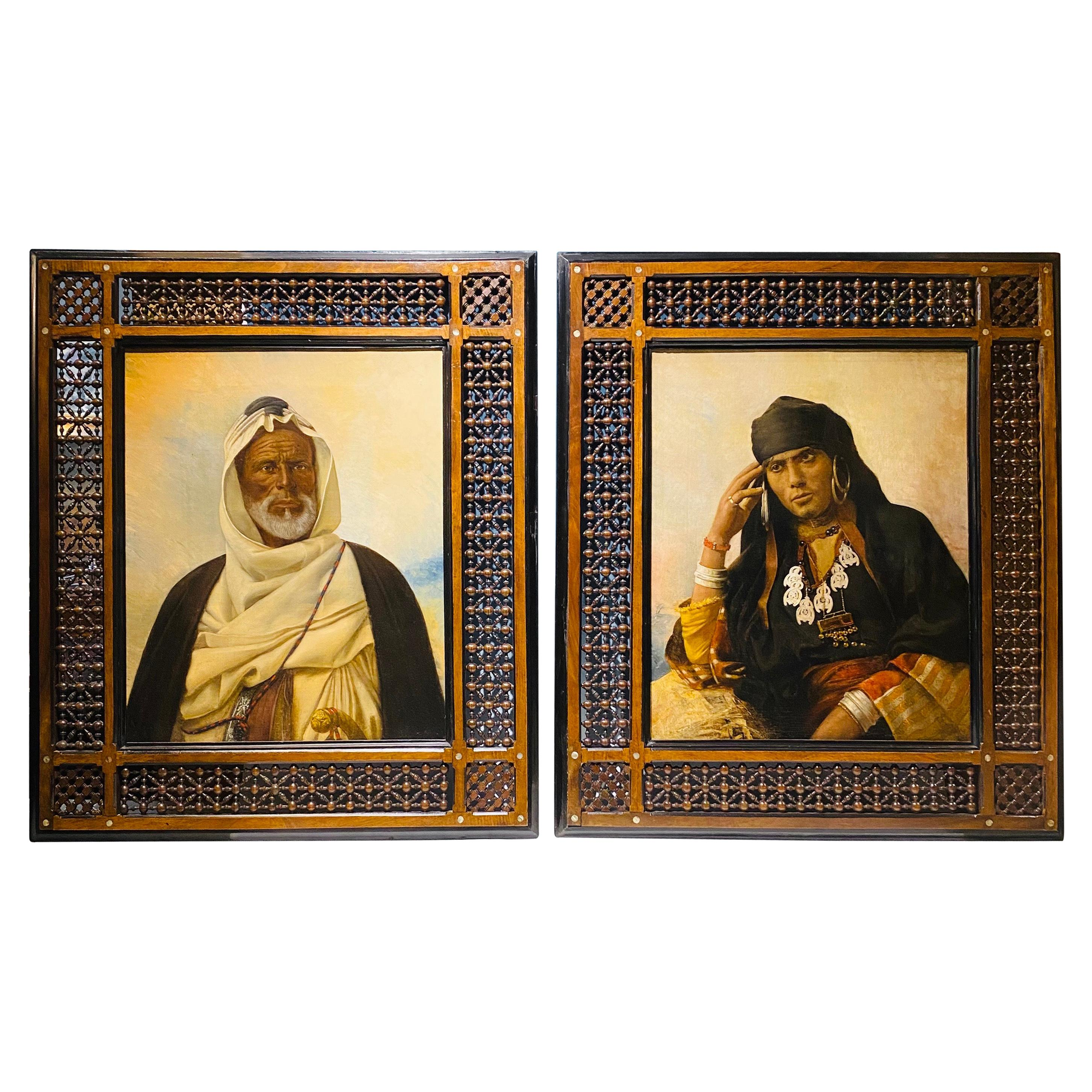 Rare Pair of 19th Century Orientalist Oil/Canvas Paintings in Beaded Frames