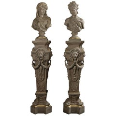 Rare Pair of Cream-Painted Cast Iron Busts and Pedestals, circa 1900