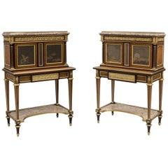 Rare Pair of Louis XVI Style Bonheur Du Jours with Lacquer Panels, 1880