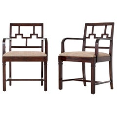 Rare Pair of Swedish Grace Period Stained Oak Armchairs