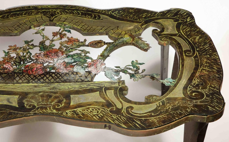 Rare Philip and Kelvin LaVerne 'La Reine Floral' Patinated Bronze Coffee Table For Sale 3