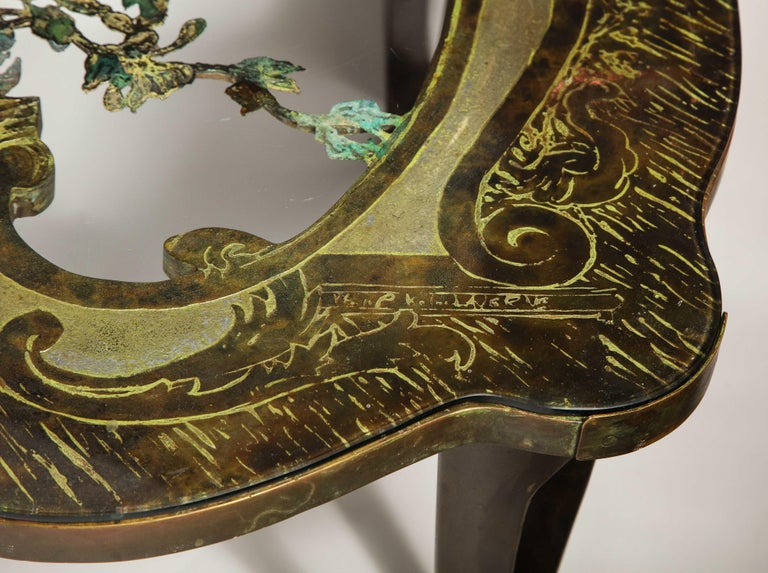 Rare Philip and Kelvin LaVerne 'La Reine Floral' Patinated Bronze Coffee Table For Sale 4