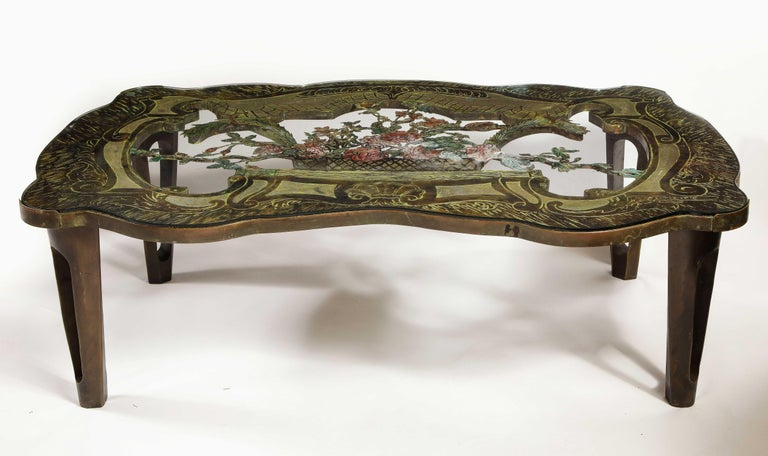 An incredible and highly important rare signed Philip and Kelvin LaVerne 'La Reine Floral' Patinated Bronze Table. The 'La Reine Floral' limited edition table by Philip and Kelvin LaVerne is an exceptional piece of art and truly one of the most