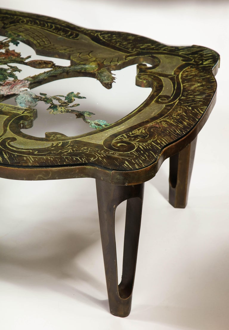 Cast Rare Philip and Kelvin LaVerne 'La Reine Floral' Patinated Bronze Coffee Table For Sale