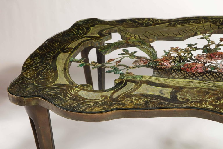Mid-20th Century Rare Philip and Kelvin LaVerne 'La Reine Floral' Patinated Bronze Coffee Table For Sale