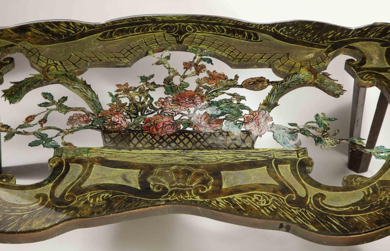 Rare Philip and Kelvin LaVerne 'La Reine Floral' Patinated Bronze Coffee Table For Sale 1