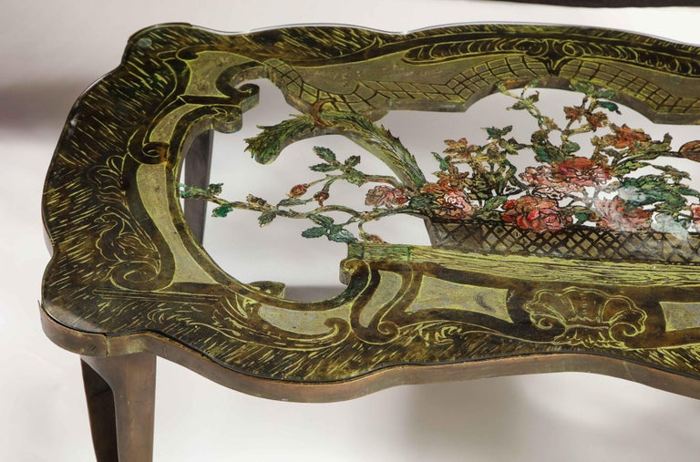 Rare Philip and Kelvin LaVerne 'La Reine Floral' Patinated Bronze Coffee Table For Sale 2