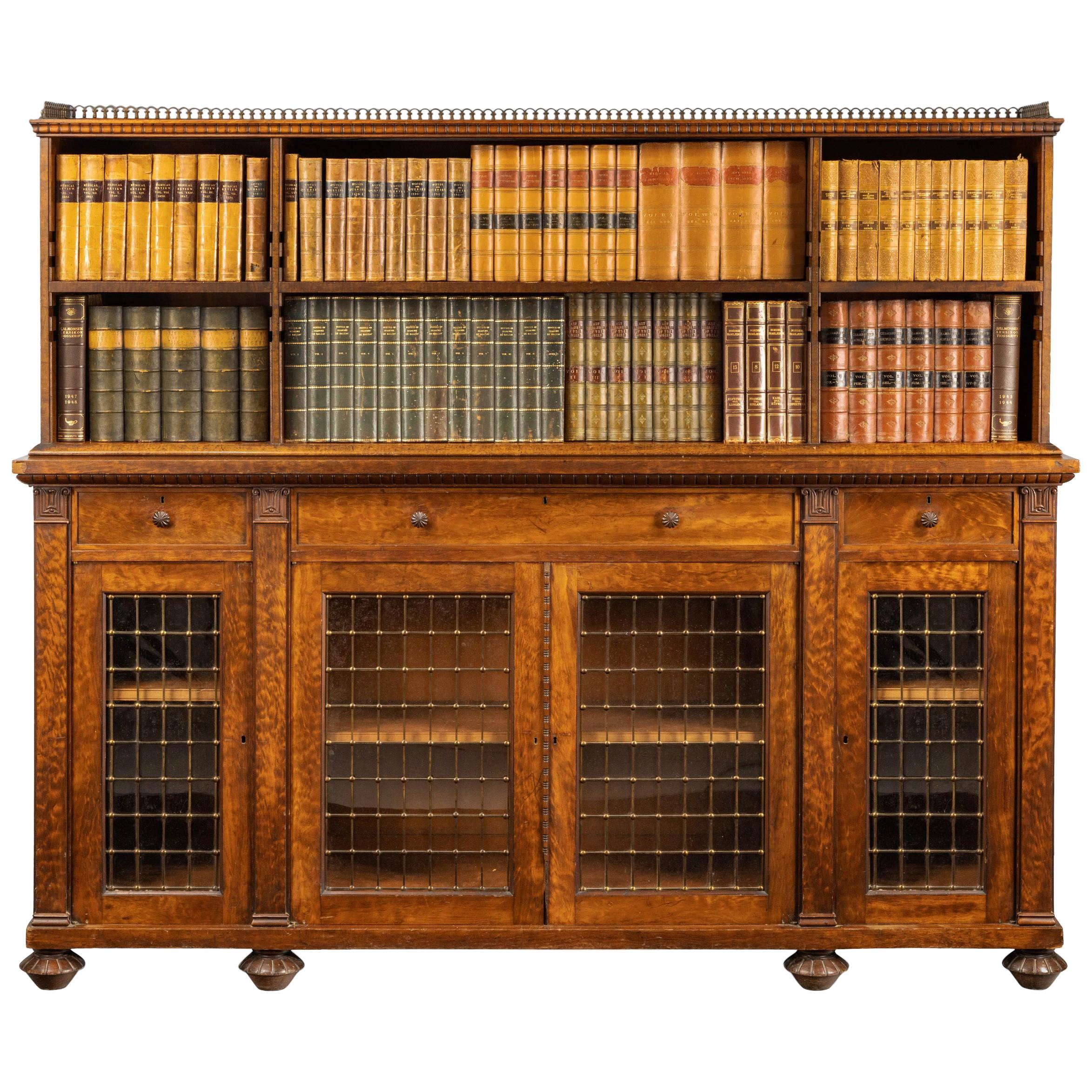 Rare Quilted Mahogany Regency Period Low Bookcase At 1stdibs
