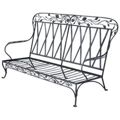 Salterini Blooming Rose Pattern Wrought Iron 3-Seat, circa 1940s, No 1