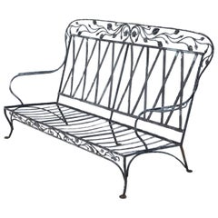 Salterini Blooming Rose Pattern Wrought Iron 3-Seat, circa 1940s, No 2